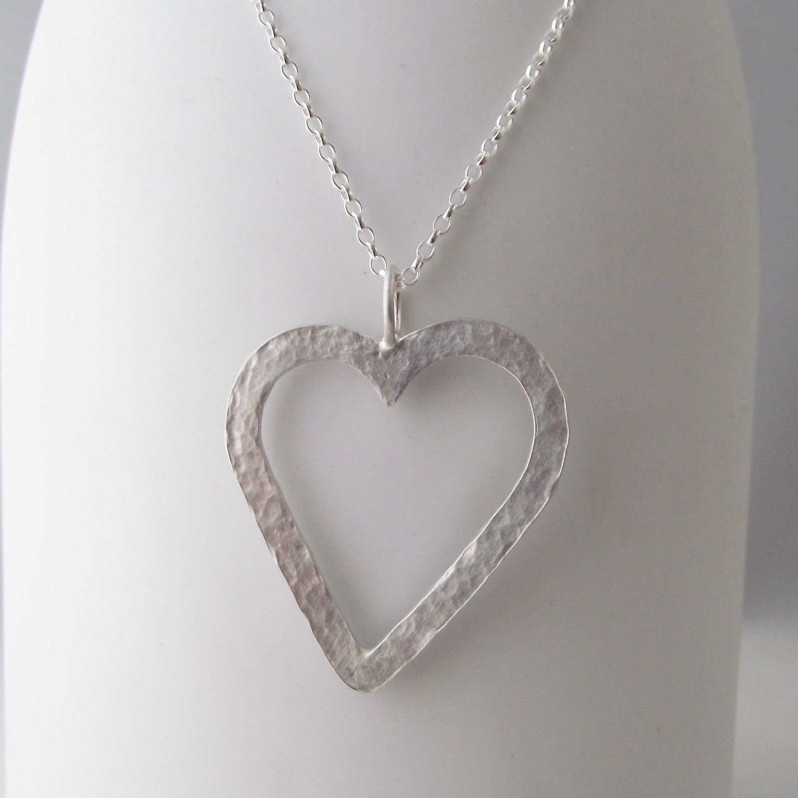 Stunning necklace handmade sterling silver hammer finish large heart stunning necklace handmade sterling silver hammer finish large heart pendant mozeypictures Gallery